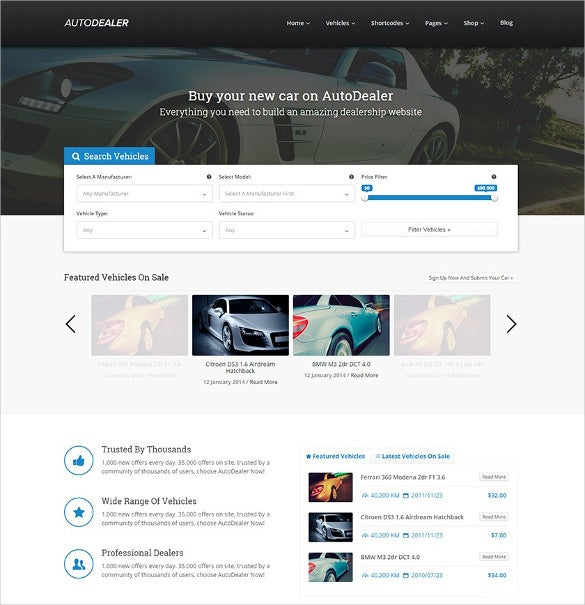 car dealer premium marketplace wordpress theme