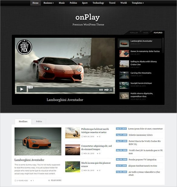 Flexible Video Magazine WordPress Template