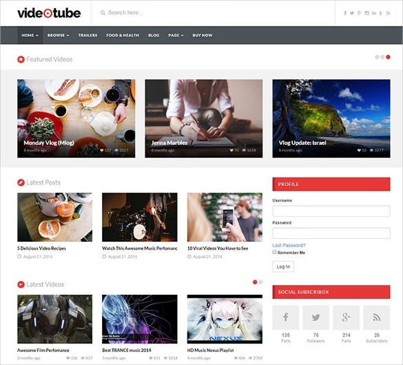 videotube responsive video wordpress theme