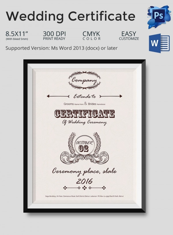 Wedding Certificate Template in PSD and Word Format