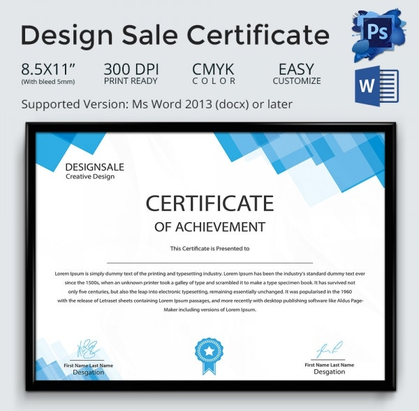 Creative Design Sale Certificate Template