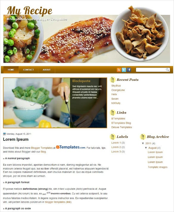 free blogger recipe template