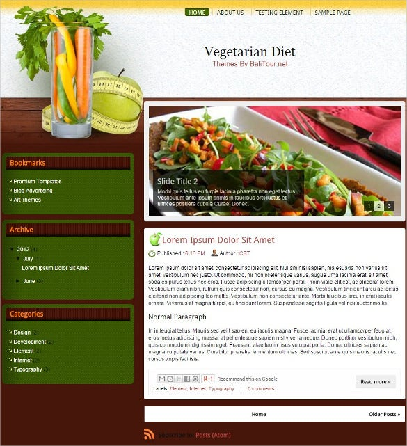 vegetarian diet blogger template