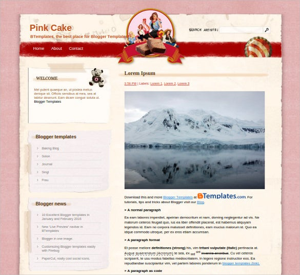 cake recipe blogger template