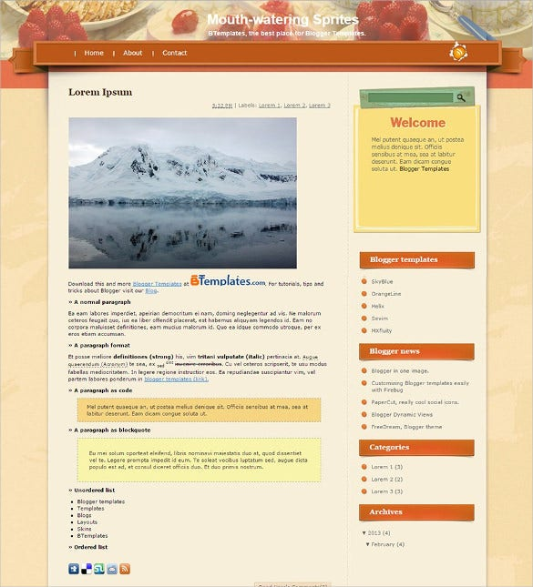 food drink blogger template