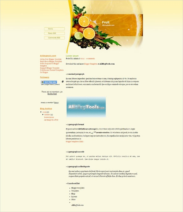 fruits blogger template