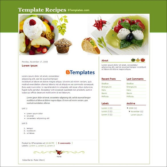 food recipe blog website templates themes free premium free