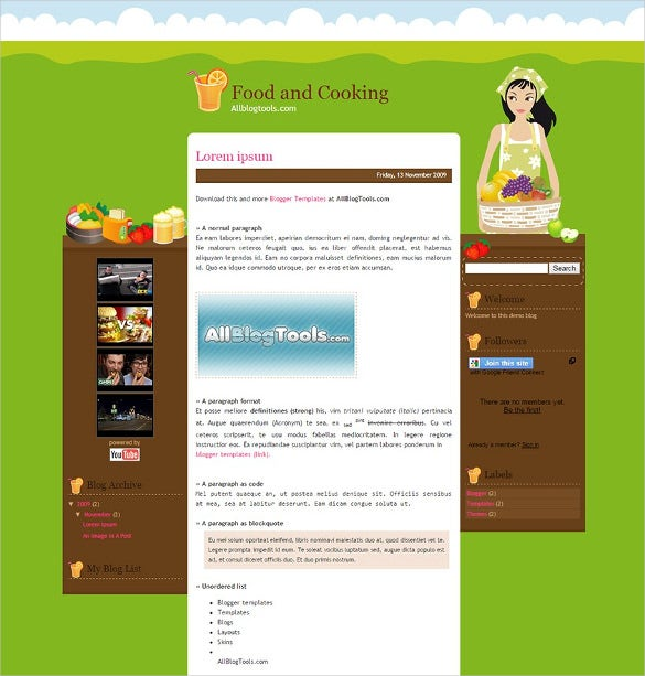 Food, Recipe Blog Website Templates & Themes | Free