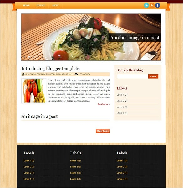 italian food recipe blogger template