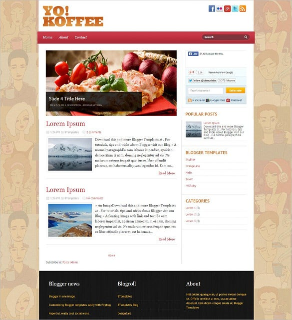Food recipe blog website templates themes free premium delicious food blogger template forumfinder Choice Image