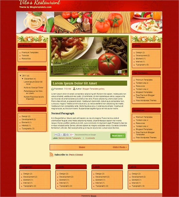restaurants food blogger template