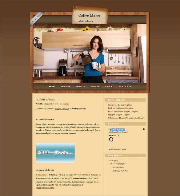 coffee maker blogger template