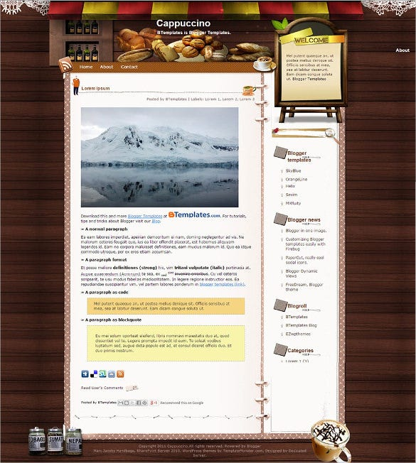 Food recipe blog website templates themes free premium free cappuccino food blogger template forumfinder Choice Image