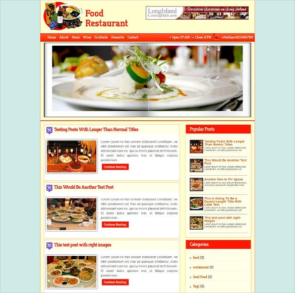 restaurant mag blogger template