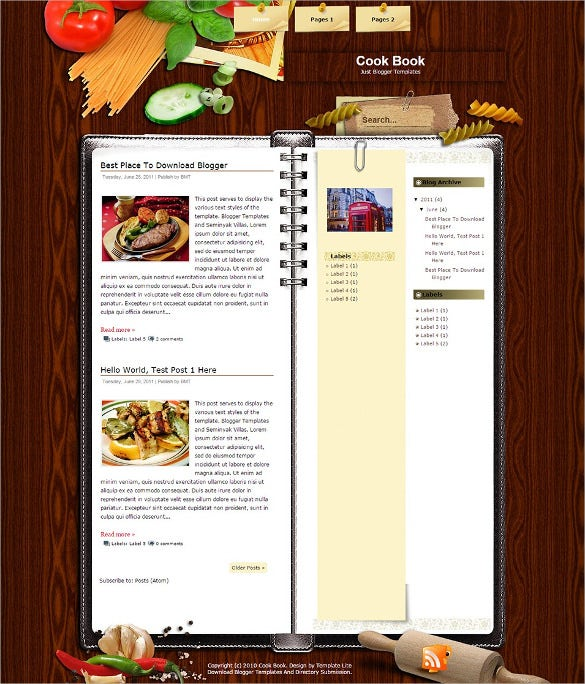 free cook recipe blog template