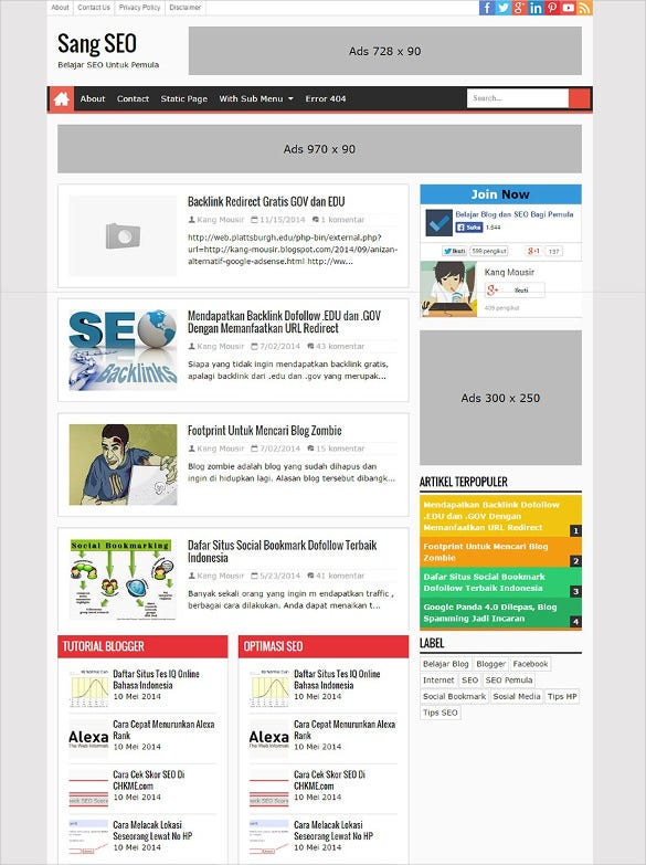 Free Seo Blogger Template