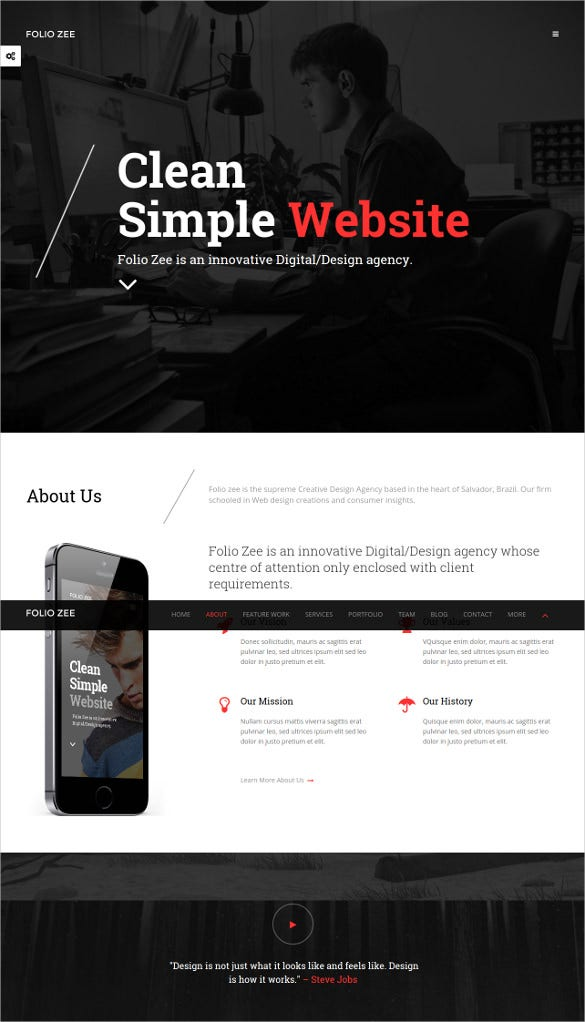 single page html5 template