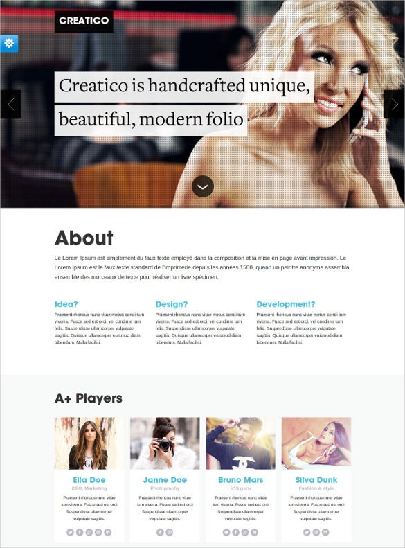 responsive creative html5 onepage template