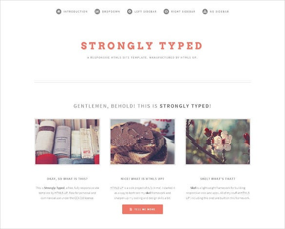 free typed html page template