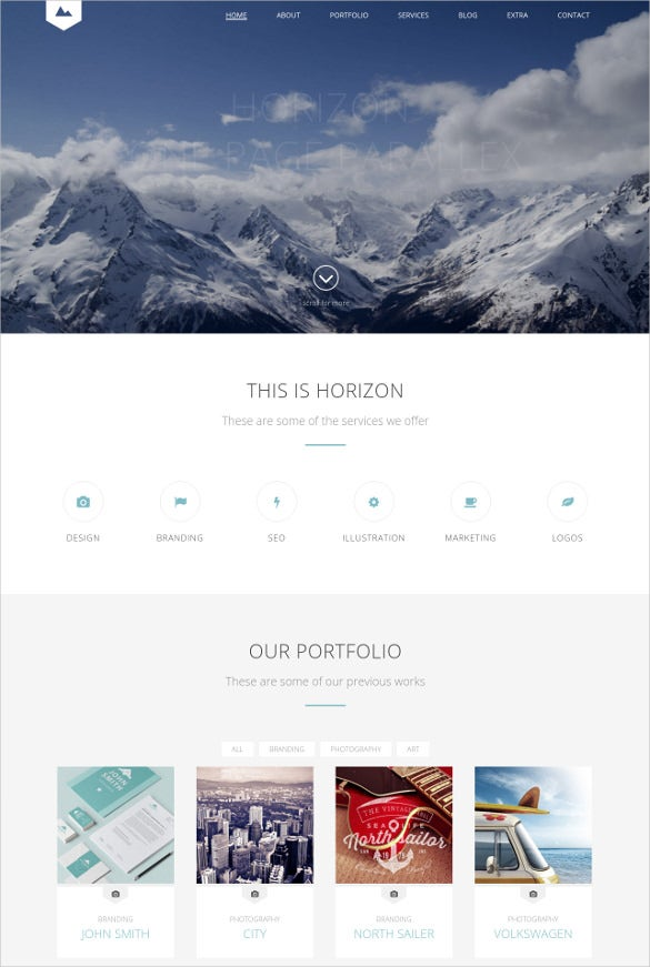 horizon one page html5 template