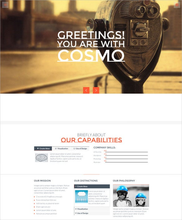 customized html5 one page template