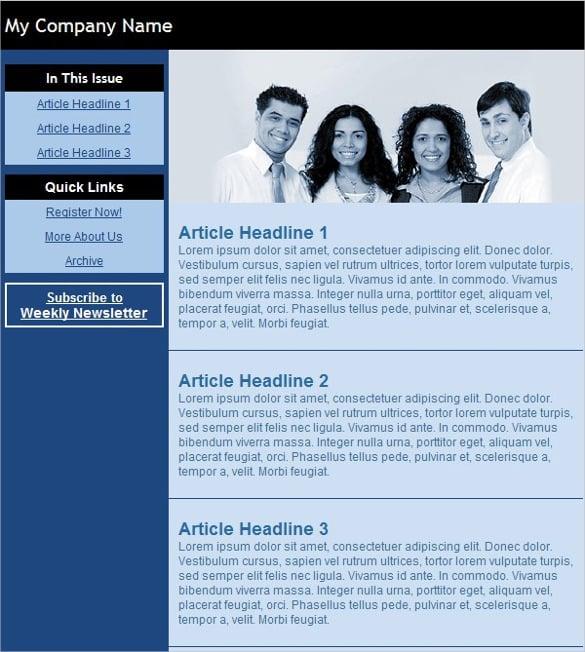 email newsletter blue black template