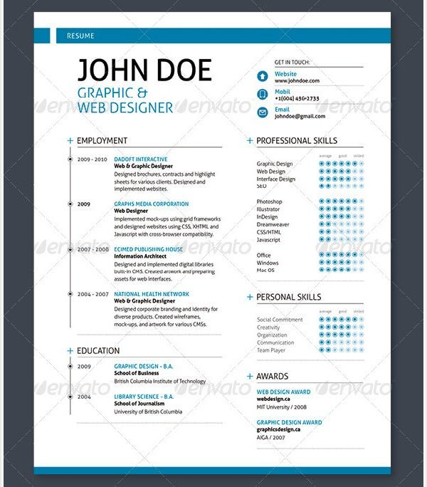 design a resume that will leave employers spellbound by using this editable psd resume template and your own designing skills with a large array of editing