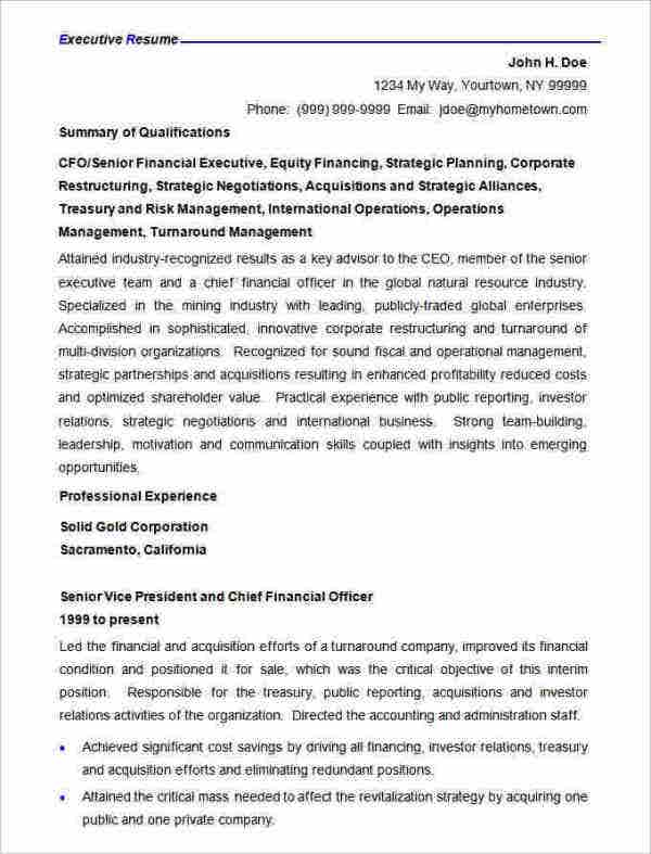 Executive Resume Templates  Resume Templates And Resume Builder