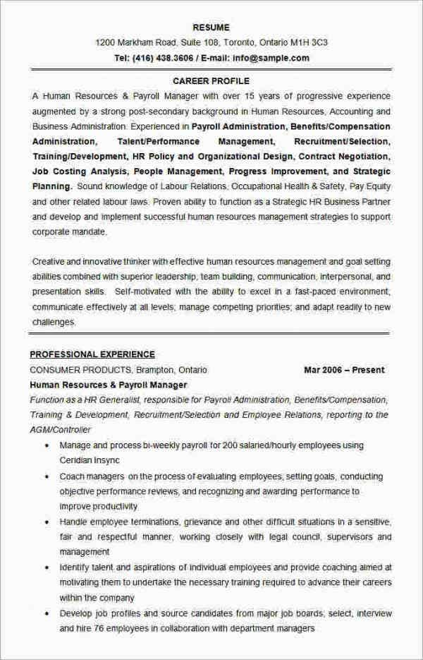 human resources manager resume format template - It Sample Resume Format