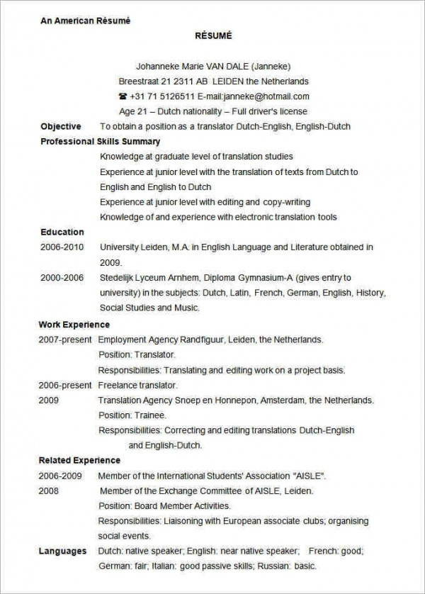 sample resume format word document chronological template