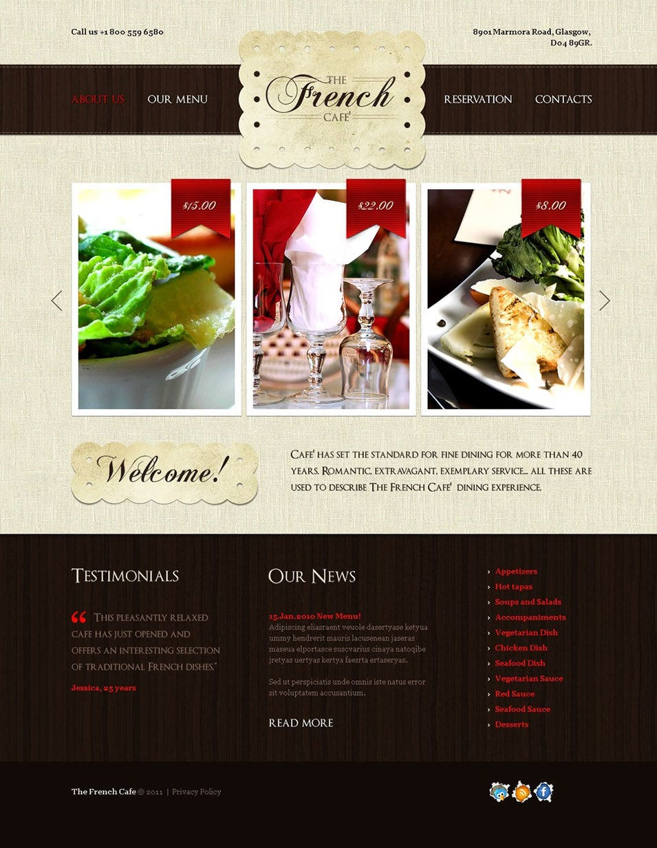 French Restaurant PSD Template