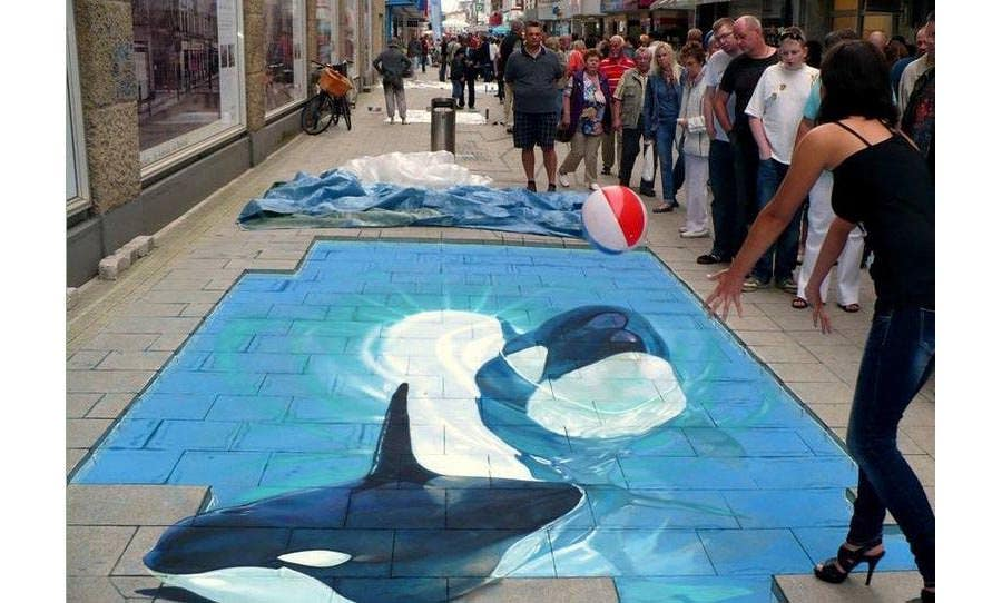 3d drawing on street