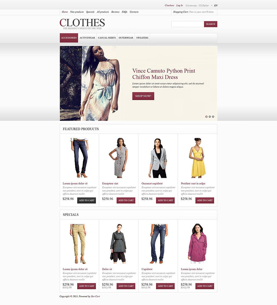 Fashionable Attire ZenCart Template