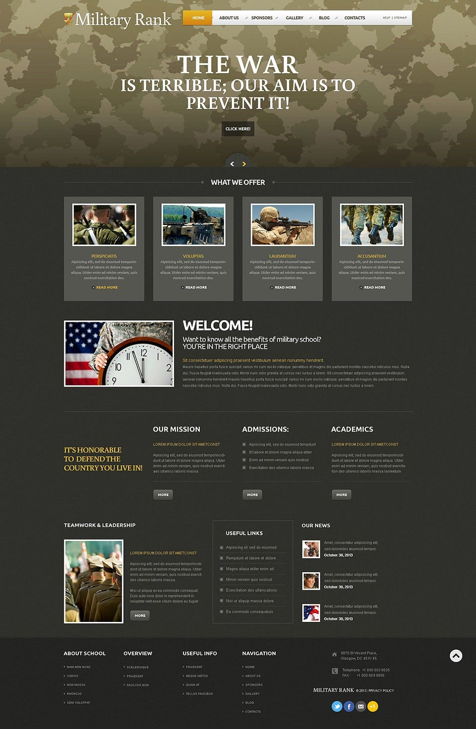 Military Responsive WordPress Theme
