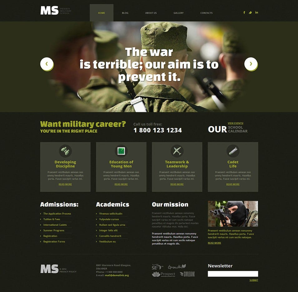 wordpress theme with multiple page templates - 13 best military website templates themes free