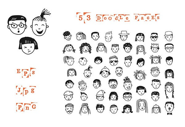 53 doodle cartoon faces