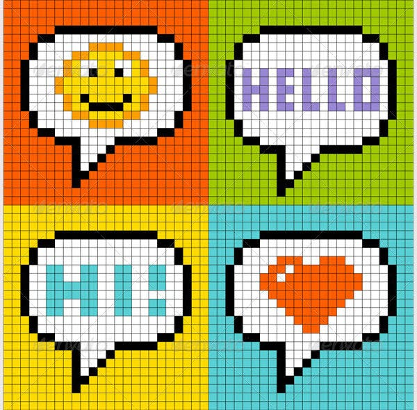 8-Bit Pixel-Art Online Messaging Bubbles