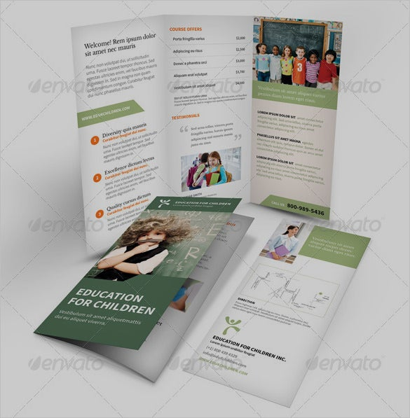a4 us letter sized education trifold brochure
