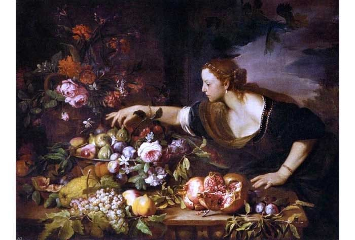 abraham brueghel woman grasping fruit 18 x 24 premium archival print traditional artwork by print oyster1