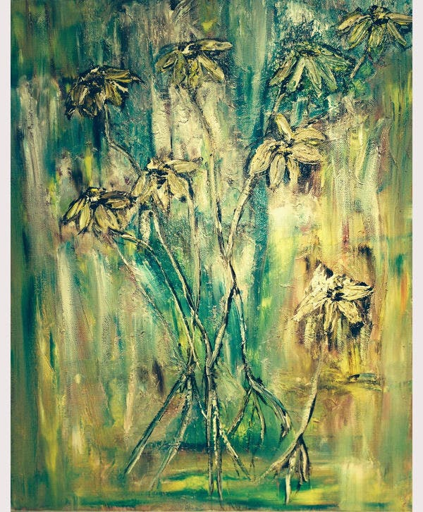 abstract oil painting daisy flowers