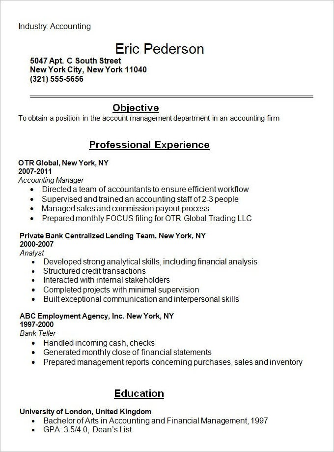 resume cover letter accounting student