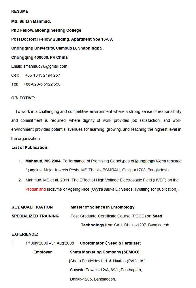Official Curriculum Vitae Format Vosvetenet – Official Resume Sample
