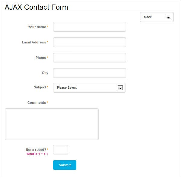ajax php contact form template