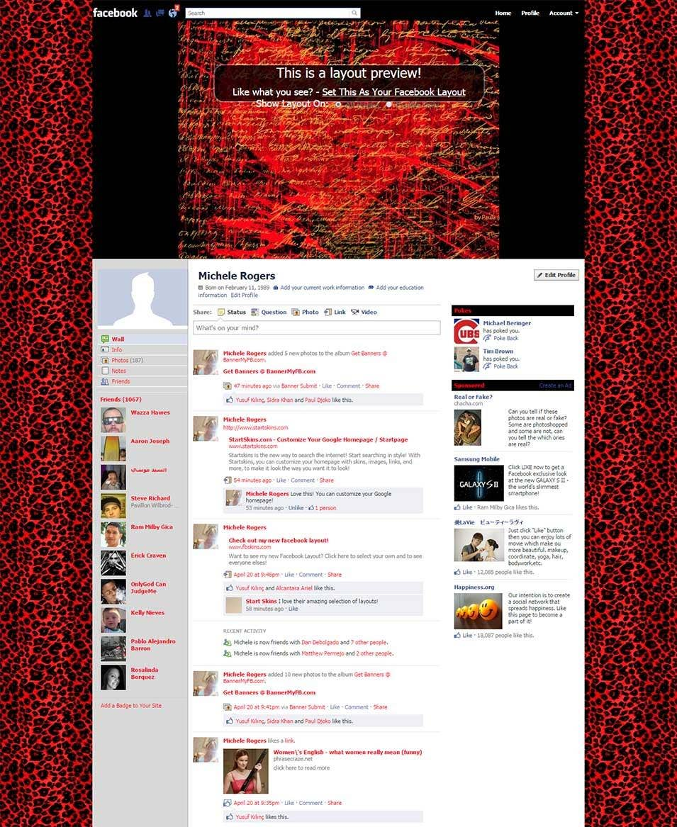 animal print heart facebook layout preview