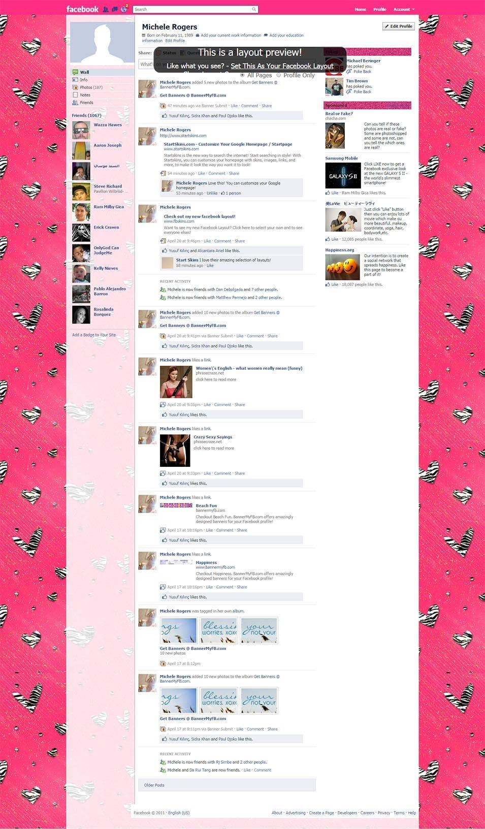 animal print hearts with sparkle facebook layout preview