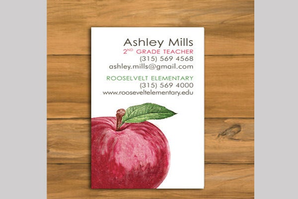apple business cards for teacher