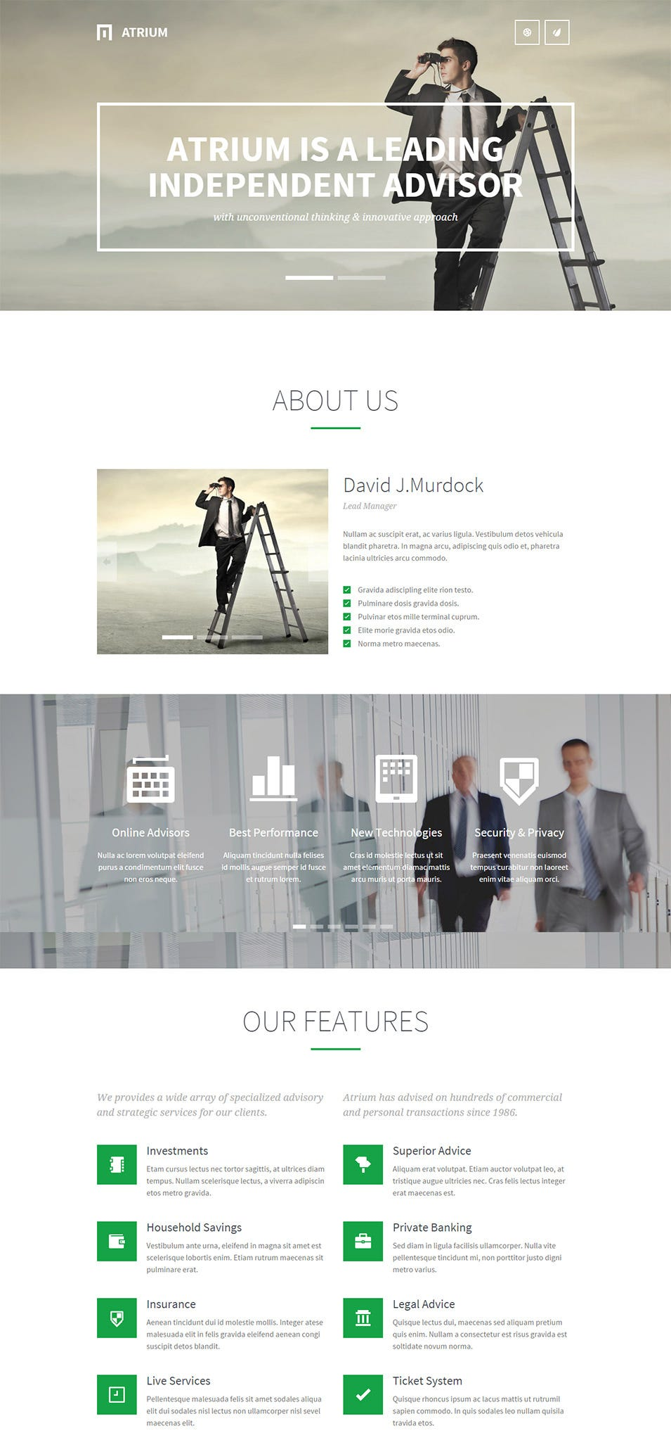 atrium responsive one page wordpress theme
