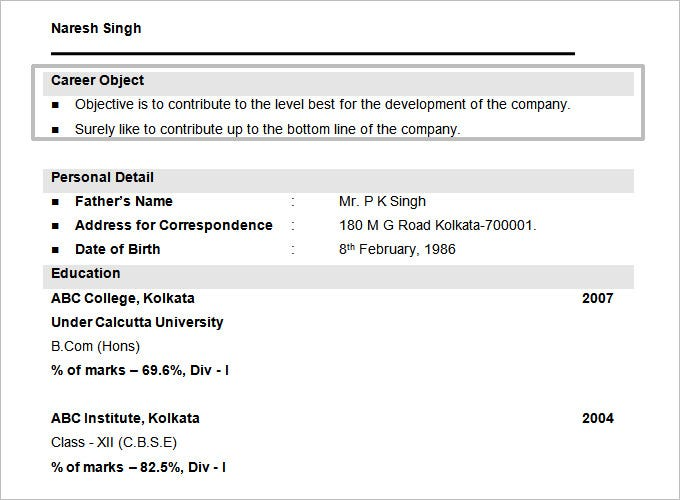 b com resume objective free doc format template - Sample Resume For Bcom Computers Freshers