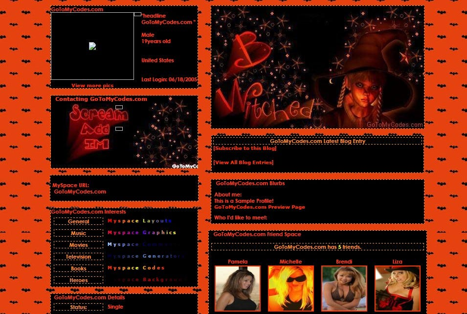 b witched myspace layouts profile preview at gotomycodes