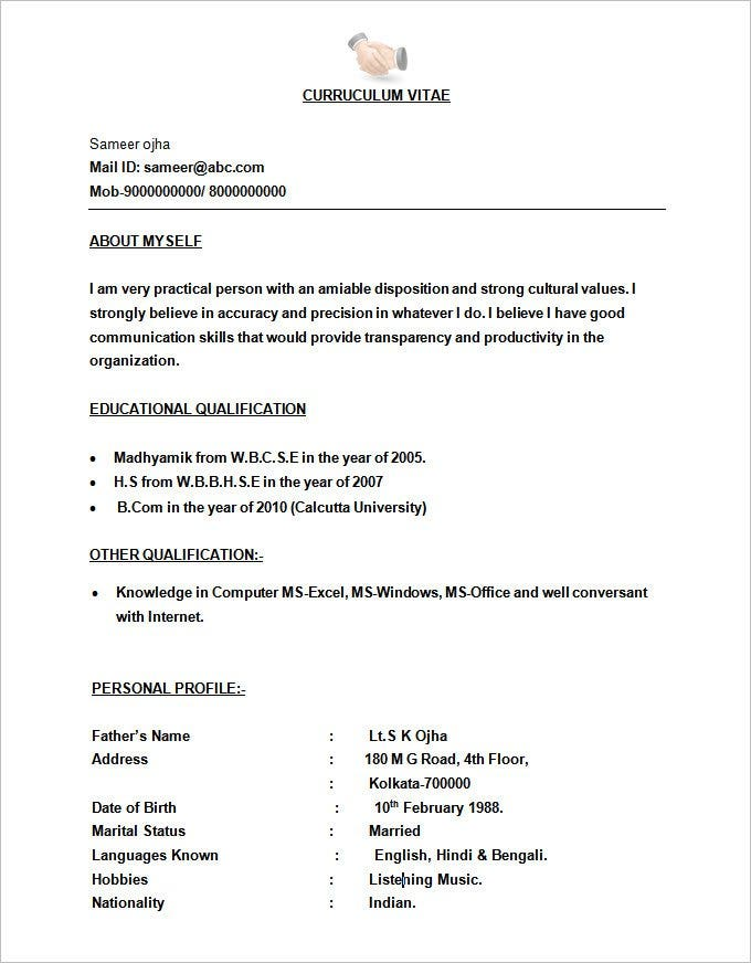 bpo call centre resume template format free download - Format Of Resume Free Download